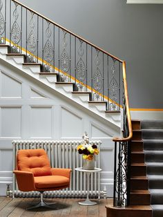 Simple idea to transform your stairway into a design statement.  Paint the top of the skirting board in a contrast colour to make it pop.  Walls in Grey Teal, panelling and skirtings in Shallows & contrast in Marigold.  All colours from Little Greene.