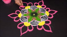 Simple Rangoli with Dots Rangoli Designs Latest, Rangoli Kolam Designs, Rangoli Designs Images, Rangoli Designs With Dots, Kolam Rangoli, Flower Rangoli, Beautiful Rangoli Designs, Padi Kolam, Mandala Art Lesson