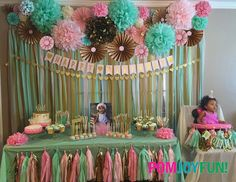 7 Poms 6 Rosettes Party Decor Backdrop | Fans | Pom Wheel | Rosettes | Paper Medallions | Weddings, Birthdays or Parties | Paper Rosettes