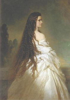 Portrait of Sissi, by Winterhalter Not the same hair texture, but a goal of mine still...