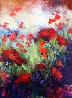 Poppy Skies, landscape with poppies, painting by artist Nancy Medina