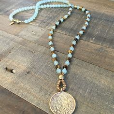 Courage and Prosperity, Aventurine and Tiger´s Eye beaded necklace with Tibetan pendant, 108 bead mala