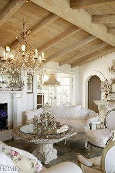 White, cream, chic, shabby, vintage, living room.