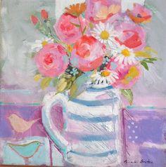 flowers and birds acrylic on canvas