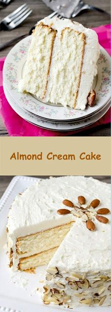 Almond Cream Cake Only make this if you have a stand mixer. Curious about how the icing with white flour will be. Cupcake Recipes, Baking Recipes, Cupcake Cakes, Dessert Recipes, Fall Cake Recipes, Cupcakes, Just Desserts, Delicious Desserts, Just Cakes