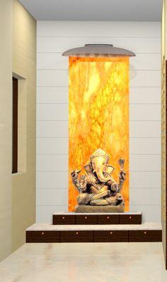 Puja Room Glass behind the idol Pooja Room Door Design, Foyer Design, House Design, Temple Room, Home Temple, Mandir Design, Ganapati Decoration, Room Interior, Interior Design