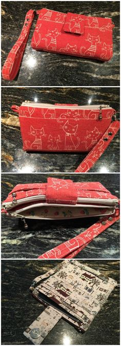 Adorable! This clutch / wristlet / wallet pattern has everything you need. Space for your cash and cards, a place for your phone, plenty of pockets, and a wrist strap. When you don't need or want to take a large bag, then this wallet pattern could be perfect for you. 3 x zippered pockets, 1 …