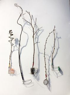 found-fabricated:  Sketch Utensils - silver, found objects, linen thread and shadows.