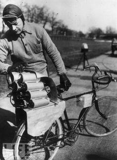 vintage rocket-powered bicycle. Herr Richter, Berlin, March 1931