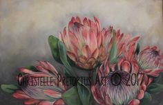 Artist: Christelle Pretorius. Beautiful composition of South African Proteas. Oil on Canvas. Subjected to copyright. For more information contact Christelle christelledv@live.com Protea Art, Types Of Art, Paint Ideas, Home Art, Oil On Canvas, Composition, African, Paintings, Live