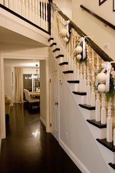 Bannister Idea - can we make something like this when you're here?  For your stairs & mine?