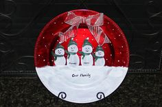 Personalized, Hand Painted, Decorative Snowman Family Charger Plate, for Wall or Easel; Snowman Plate, Family Christmas Plate