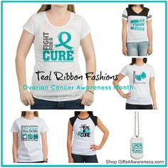 Get the teal ribbon look to observe Ovarian Cancer Awareness Month during the month of September with awareness t-shirts and gifts by www.gifts4awareness.com #ovariancancer #ovariancancerawarenessmonth #ovariancancershirts