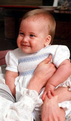 7-month-old Prince William, he was looking at his mother, with a lovely smile...