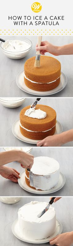Learn how to ice your cake with a spatula! Icing a cake may look tricky, but follow these techniques and you will have a beautifully iced cake in no time! #wiltoncakes #buttercream #basics #cakedecorating #howto #spatula #icing #cakes #cakedecorating #cakeideas