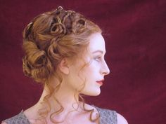 unusual hairstyle for ginger hair, made up of curls, twists and braids, worn by woman with red lipstick, looking to one side Pigtail Hairstyles, Loose Hairstyles, Braided Hairstyles, Renaissance Hairstyles, Historical Hairstyles, Victorian Hairstyles, Cute Side Braids, Auburn Hair, Modern Hairstyles