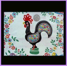Rare Vintage Portuguese Cotton Fabric Cockerel Ethnic Figures