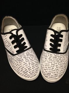 Handwritten Customized Canvas Shoes Writing Quotes Book Thief $30.00 on Etsy