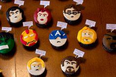 Amazing Avengers cupcakes with famous movie quotes Avenger Cupcakes, Marvel Cupcakes, Loki, Captain America, Avengers Birthday Cakes, Marvel Avengers Assemble, Avengers Wallpaper, Avengers Movies, Incredible Hulk