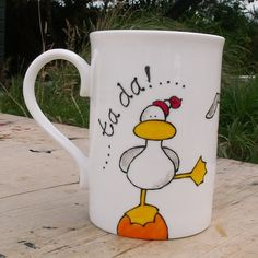 Seagull mug hand Painted Cornwall English Bone China Seagull Mug Ta da Fun and Funky Seaside Cup