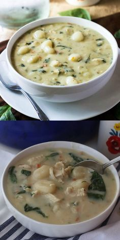 Olive Garden Chicken Gnocchi Soup Want a tasty copycat recipe that everyone will love? This Olive Garden Chicken Gnocchi Soup is easy, flavorful and completely addicting. Simple ingredients make this better than the original! Easy Soup Recipes, Crockpot Recipes, Chicken Recipes, Dinner Recipes, Cooking Recipes, Healthy Recipes, Olive Recipes, Recipe Chicken, Recipes With Gnocchi
