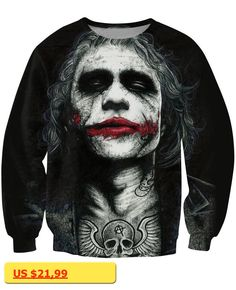Inked Joker Sweatshirt badass tattooed Joker Dark Knight 3d Sweats Women Men Batman DC Comics Superhero Jumper Outfits Tops