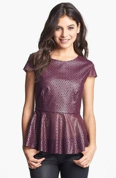 Great color! Faux leather peplum top