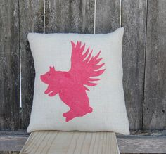 Flying Pig Burlap PillowPig Pillow Farmhouse Chic by ToadHollowNJ