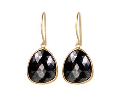 18K Gold Charcoal Opaque Diamond Earrings