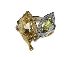 Rebecca Hook Jewelry stackable leaf rings with marquise-cut colored gemstones; $140