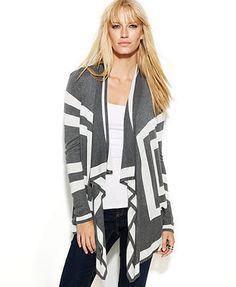 INC International Concepts Long-Sleeve Draped Colorblock Cardigan