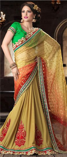 Mustard Faux #Chiffon and Faux Crepe #Saree With Blouse @ $115.80
