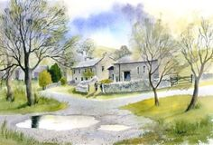Rachel McNaughton Watercolor Painting Techniques, Watercolor Canvas, Watercolor Landscape, Watercolour Painting, Landscape Paintings, Art Tutor, Pen And Wash, Beautiful Paintings, Houses