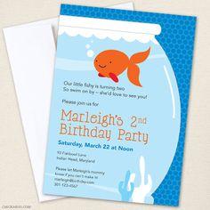 Items similar to Goldfish Party Invitations - DIY Printable Goldfish Birthday Invitations on Etsy Custom Birthday Invitations, Photo Invitations, Printable Invitations, Invites, Invitation Ideas, Printables, Goldfish Party, Water Party, 2nd Birthday Parties