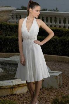 Short Halter Chiffon Short Wedding Dresses