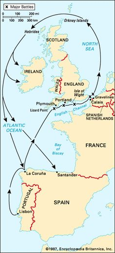 Historical Map of the route of the Spanish Armada, illustrating major battles Uk History, European History, World History, Santander Spain, Spanish Netherlands, England Map, Spanish Armada, Orkney Islands, Seventh Grade