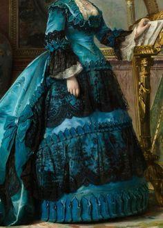 María de los Dolores Collado y Echagüe, duquesa de Bailén (detail), by Vicente Palmaroli y González, 1870. Oil on canvas.  In the Past