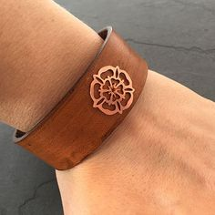 Copper Yorkshire Rose Leather Cuff by OddleDoddle on Etsy