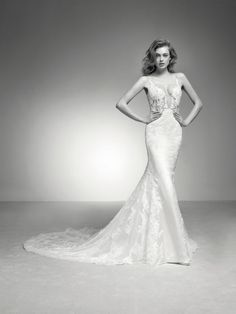 Spaghetti Strap V-neck Lace And Tulle Fit And Flare Wedding Dress With Chapel Train by Pronovias - Image 1 - Wedding Gowns Tulle Skirt Wedding Dress, Fit And Flare Wedding Dress, Lace Mermaid Wedding Dress, Bridal Dresses, Tulle Lace, Lace Dresses, Pronovias Wedding Dress, Wedding Gowns, Happy Brautmoden