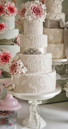 Gorgeous Lace Wedding Cakes ~ Cake Design: Cotton and Crumbs