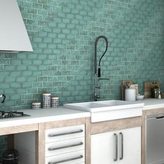 The Somertile 3x6 Inch Antiguo Special Lava Verde Ceramic Wall Tile Features Uneven Edges For