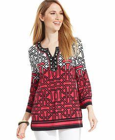 JM Collection Three-Quarter-Sleeve Beaded Printed Tunic - Tops - Women - Macy's