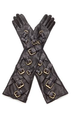 Over-The-Elbow Buckle Accent Gloves