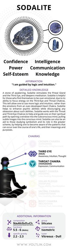 Description A stone of awakening, Sodalite stimulates the Pineal Gland and the Third Eye, and deepens meditation. Sodalite is helpful for those who find themselves to be over-emotional, due to its abi