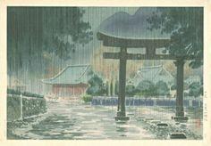 Futarasan in rain, by Tsuchiya Koitsu, ca.1930