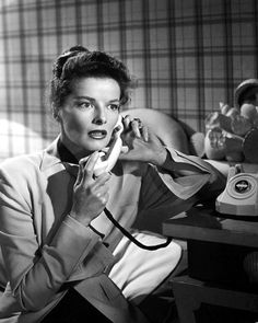 Katherine Hepburn talking on the telephone   talking on the telephone back in the day they all came with cords attached to them