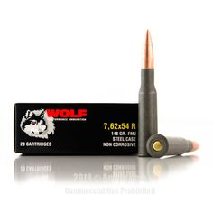 Wolf 7.62x54r Ammo - 20 Rounds of 148 Grain FMJ Ammunition #762x54r #762x54rAmmo #Wolf #WolfAmmo #Wolf762x54r #FMJAmmo #WolfPolyformance