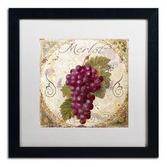 "Trademark Art 'Tuscany Table Merlot' Framed Graphic Art Mat Color: White, Size: 16"" H x 16"" W x 0.5"" D"