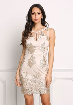 Nude Embroidered Tulle Keyhole Bodycon Dress - Dresses