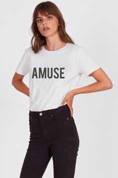 Amuse Society Iconic Logo Tee in Vintage White. Expertly worked from a feather-light cotton jersey in a classic crew neck silhouette featuring the Amuse Society Logo across the chest. Fashion Boutique, Beauty Boutique, Girls Wardrobe, Cotton Lights, Vintage Tees, Outfit Shop, Leather Jacket, Clothes For Women, Stylish